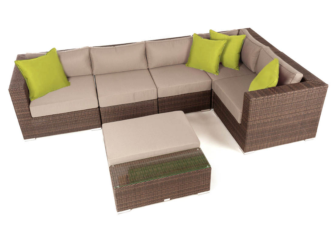 Liana 6 piece modular patio furniture sectional set