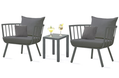 Martina club outdoor balcony or terrace 3 piece furniture set