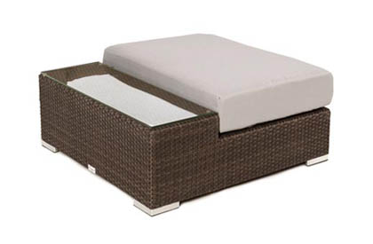 Ogni Liana Combo outdoor coffee table with tempered glass top and cushion