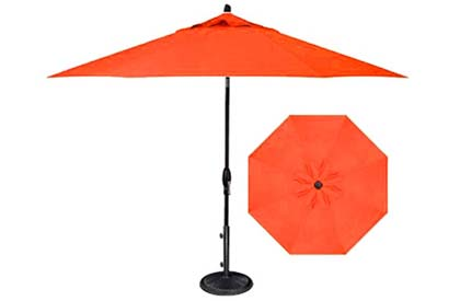 Orange garden umbrella in 9 foot octagonal shape