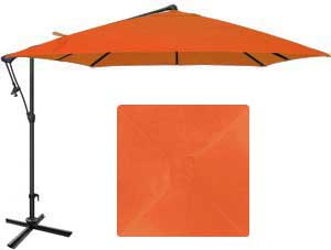 8½ foot orange patio umbrella with O'Bravia fabric by Treasure Garden