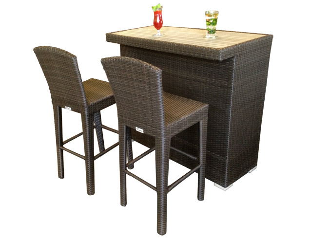 Martini bar outdoor table with synthetic teak wood top for Synthetic wood patio furniture