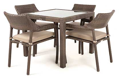 Nico outdoor dining table with glass top for 4 people