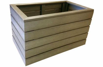 Outdoor rectangular flower pot made with UV treated faux Teak wood