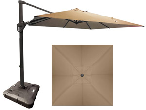 Taupe beige square 10 foot offset garden umbrella