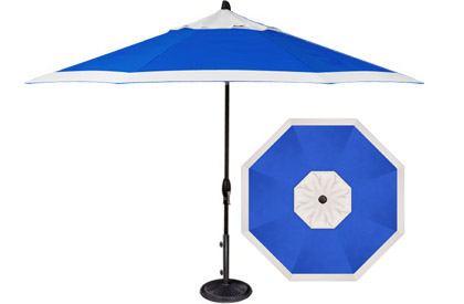 Designer 9 foot cobalt blue and white octagonal patio umbrella