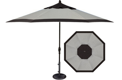 Designer 9 foot grey and black octagonal patio umbrella