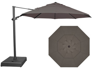 Large 11 foot grey offset octagonal patio umbrella by Treasure Garden