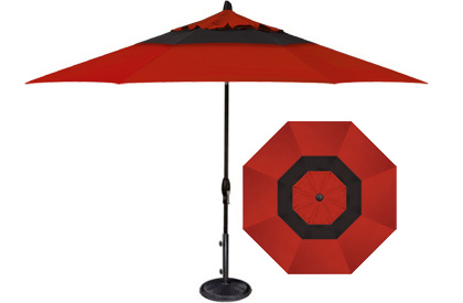 Designer 9 foot red and black octagonal patio umbrella