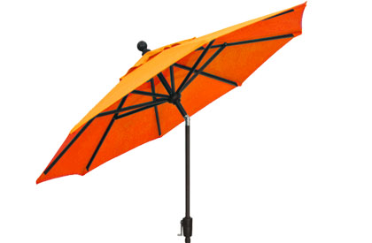Orange garden umbrella in 9 foot octagonal shape by Treasure Garden