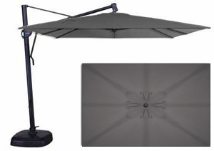 Grey rectangular 10 x 13 foot patio umbrella by Treasure Garden
