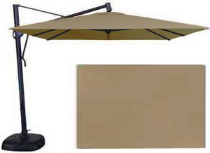 Beige rectangular 10 x 13 foot garden umbrella
