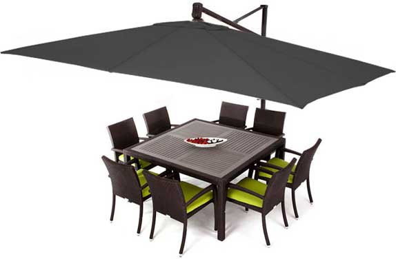 Black rectangular garden umbrella