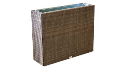 Outdoor furniture space divider with built-in plant pot