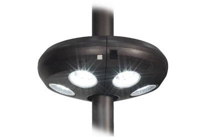 Patio umbrella LED light with rechargeable power pack