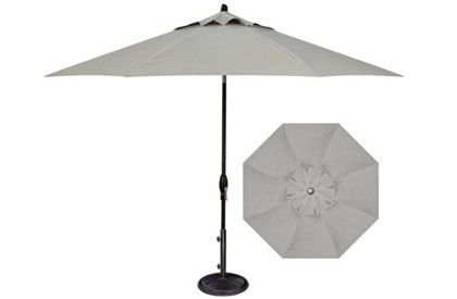 Quality Silver Linen patio umbrella 9 foot perfect octagonal shape for outdoor dining table set