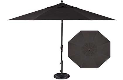 Octagonal 9 foot black patio umbrella for a modern looking outdoor dining set