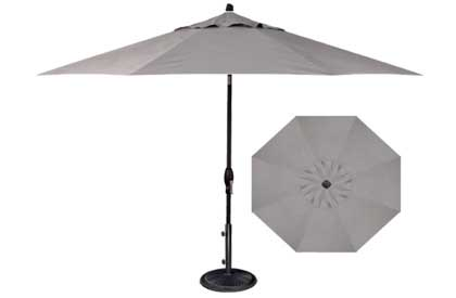 Quality grey patio umbrella 9 foot perfect octagonal shape for outdoor dining table set