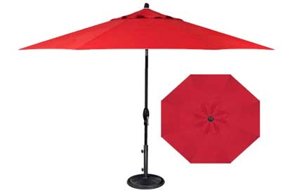 Quality red patio umbrella in 9 foot octagonal format made by  Treasure Garden for outdoor furniture dining table set