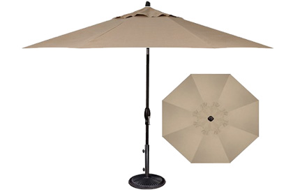 Quality taupe beige patio umbrella 9 foot octagonal shaped made by Treasure Garden for outdoor furniture dining table