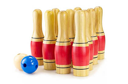 Deluxe lawn bowling pin skittles set