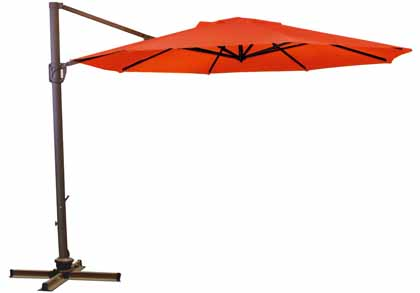 Red Octagonal 335.28 cm (11 foot) Offset Treasure Garden Patio Cantilever Umbrella for deck or terrace