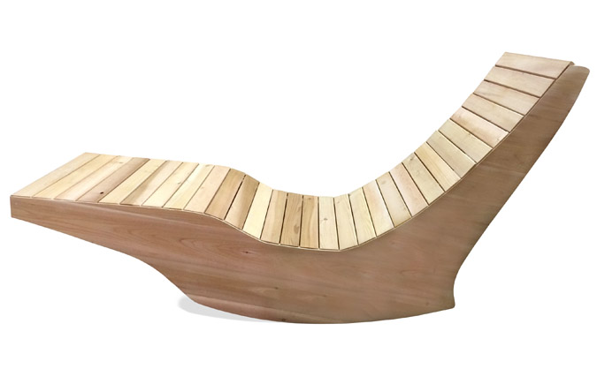 Ogni balance wooden outdoor rocking lounge chair ogni for Chaise longue pliante bois toile