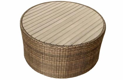 Round patio coffee table made with an aluminum frame, synthetic wicker and faux Teak top