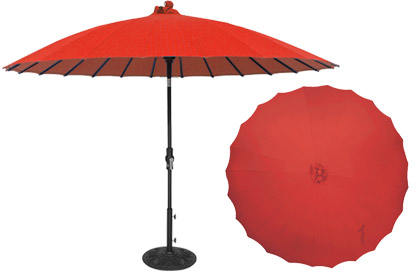 Shanghai red Asian style 10 foot high quality aluminum patio umbrella made by Treasure Garden