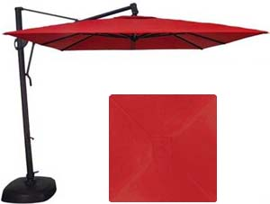 10 Foot Square Red High Quality Patio Umbrella Parasol With Vented Top.