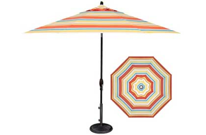 Striped patio umbrella in 9 foot Barcelona style fabric by Treasure Garden