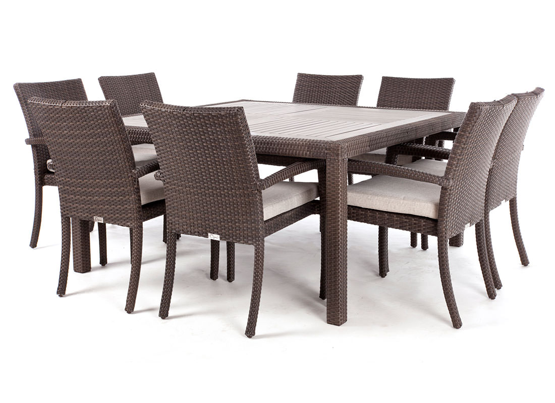 Nico square wood top patio dining table for 8 people ogni - Table carree 120x120 ...