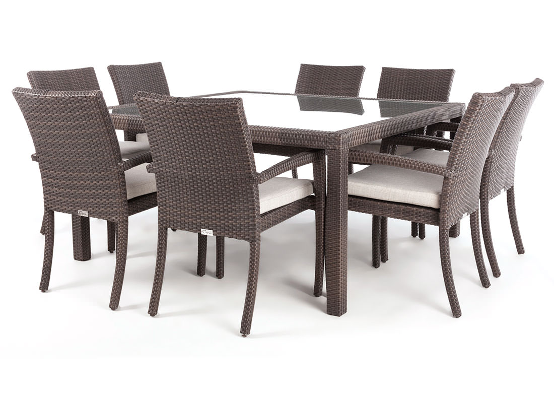 Nico square glass top patio dining table for 8 people ogni - Table en verre avec chaises ...