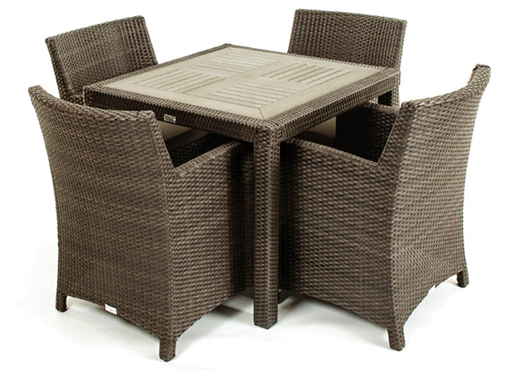 Nico outdoor dining table with durable synthetic teak top for Table exterieur vima