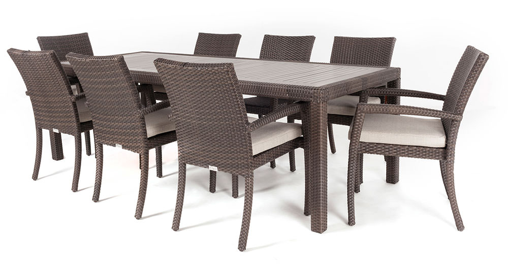 Ciro rectangular synthetic wood top outdoor dining table for Table bar 6 personnes