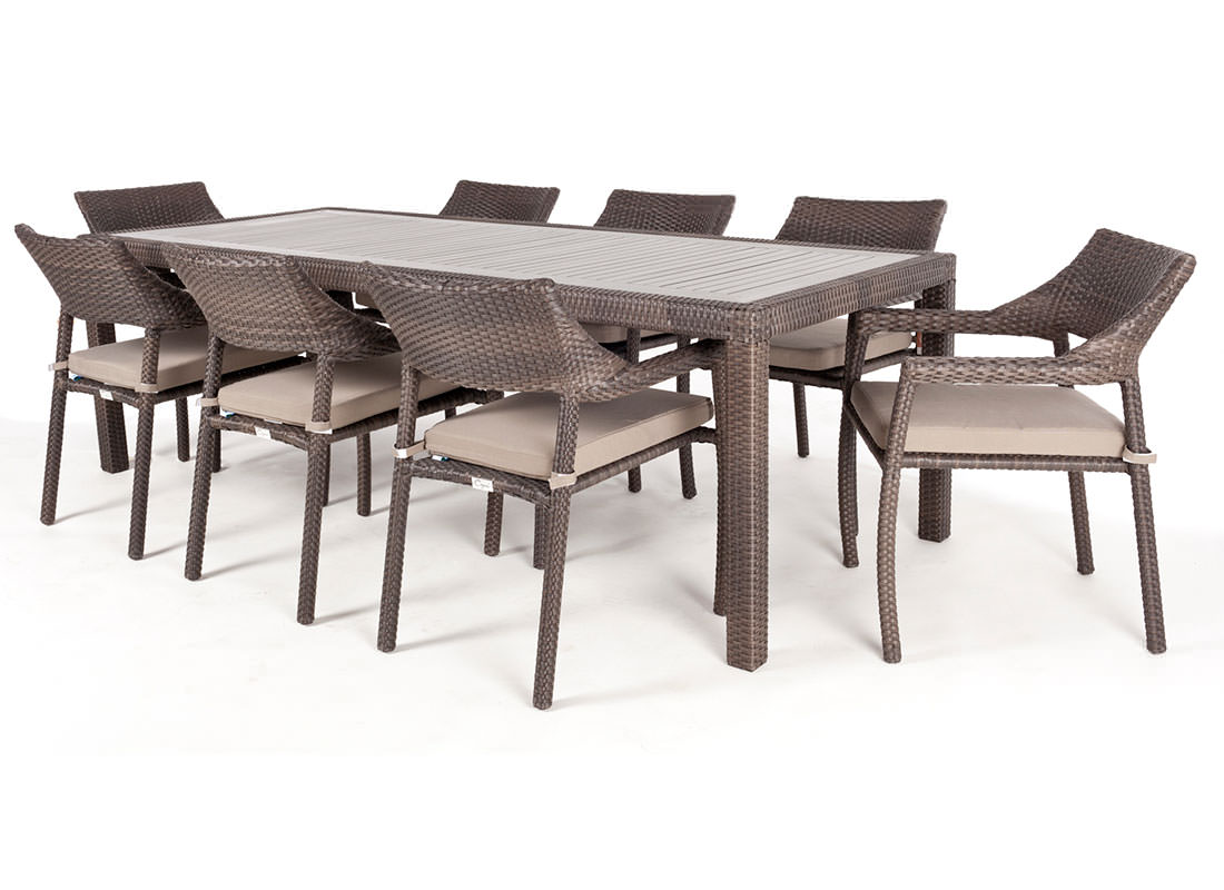Ciro rectangular synthetic wood top outdoor dining table for Top 10 dining tables