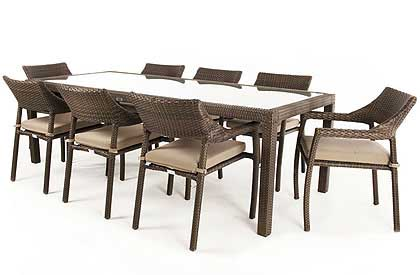 Ciro rectangular glass top 8 to 10 place outdoor dining table