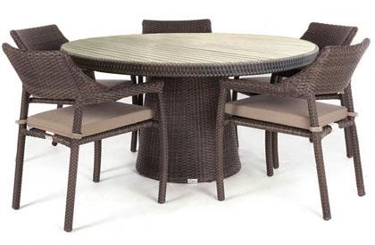 Table à dîner ronde patio Delia avec dessus en teck synthétique réaliste
