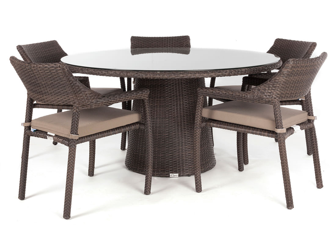 Delia round glass top outdoor patio dining table for 5 to for Glass top outdoor dining table