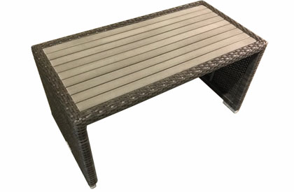 Joey narrow outdoor coffee table with synthetic wood top