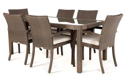 Ciro Rectangular Glass Top Dining Table for 6 or 8 people