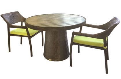 Delia 44 inch outdoor round table with simulated Teak wood top