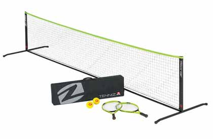 Portable tennis game set for street, driveway, lawn or parking lot at home or a tailgate party