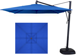 Blue garden umbrella in 10 foot square format made by Treasure Garden with Sunbrella fabric