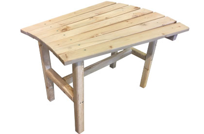 Wedge shaped table for Adirondack chairs or furniture set