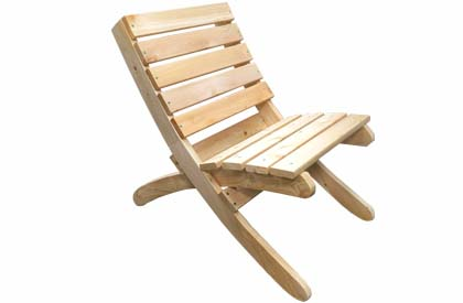 Camping chair - portable and foldable white cedar wood construction for beach or cottage